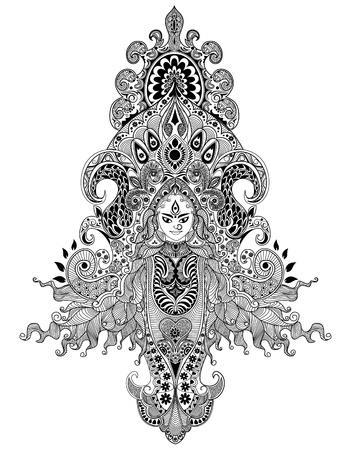Illustration der bunten Göttin Durga gegen abstrakten Hintergrund