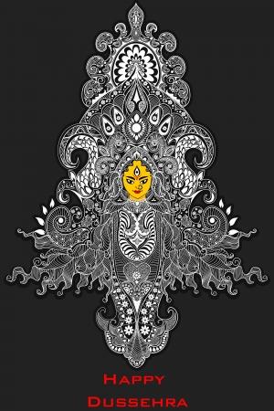 rituales: ilustraci�n de la Diosa Durga colorido contra el fondo abstracto