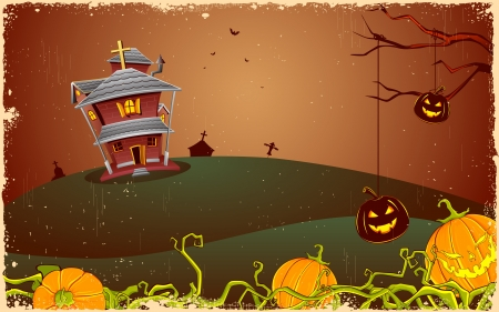 scary night: illustration of halloween haunted house in scary night