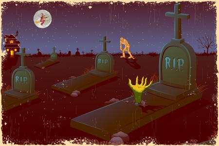 churchyard: illustration of Halloween night in graveyard with mummy and flying witch