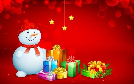 boule de neige: illustration de bonhomme de neige avec bo�te-cadeau pour No�l Illustration