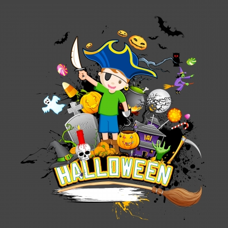 illustration of halloween background with pumpkin, skull and haunted house Vector