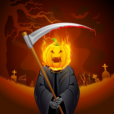 reaper: illustration of burning Halloween grim with pumpkin head
