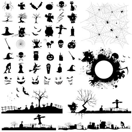 designing: illustration of set of halloween element for designing Illustration