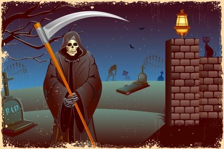 reaper: Darstellung der grimmige holding Schwert in Halloween-Nacht