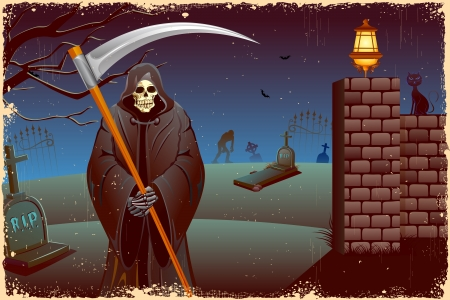 spooky graveyard: illustration of grim holding sword in Halloween night