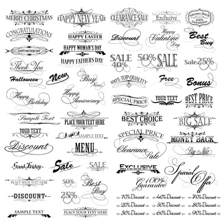 illustration of set of vintage design elements for celebration Vector