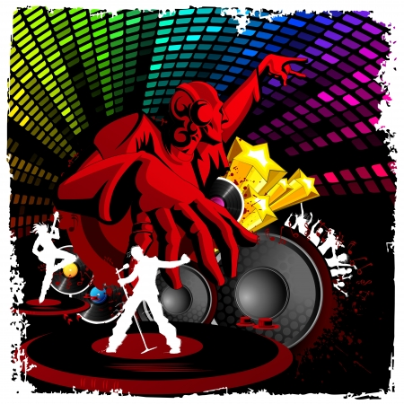 dancer male: illustration of disco jockey playing music on musical background Illustration