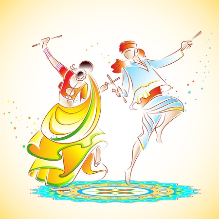indian festival: illustration of couple playing dandiya on rangoli