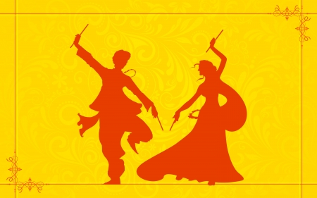 illustration of couple playing garba on Navratri
