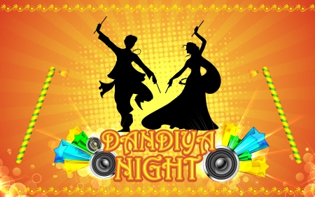 indian festival: illustration of people playing garba in dandiya night