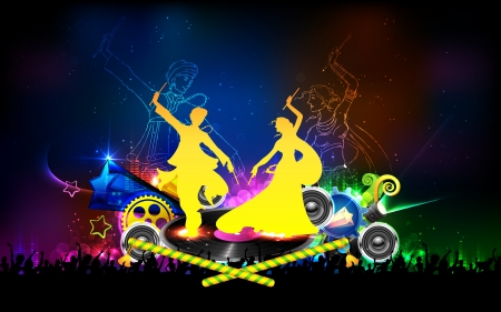 indian festival: illustration of people dancing on disc in dandiya night
