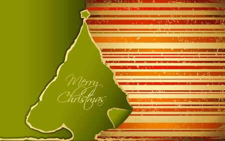 stripped background: illustration of paper Christmas tree with stripped background Illustration