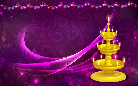deepavali: illustration of golden diya stand on abstract background