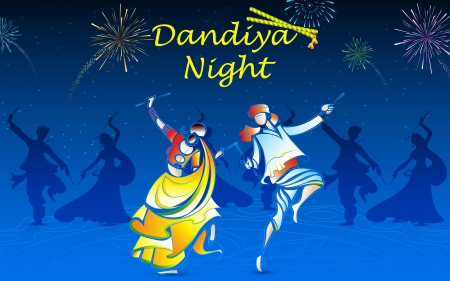 ilustration of people playing dandiya in navratri Vector
