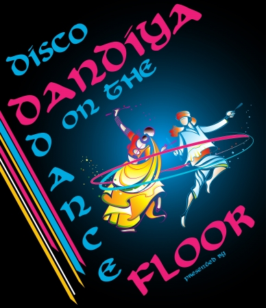 illustration of couple playing garba in disco dandiya poster Vector