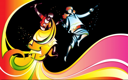 asian and indian ethnicities: illustration of man and waman playing dandiya with colorful swirl