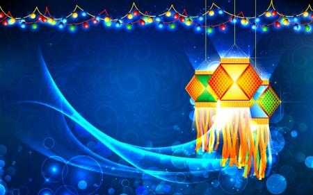 lampada: illustrazione di appendere lanterna con fuochi d'artificio nella notte diwali Vettoriali