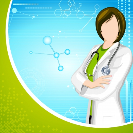 illustration of lady doctor with stethoscope on medical background Vector