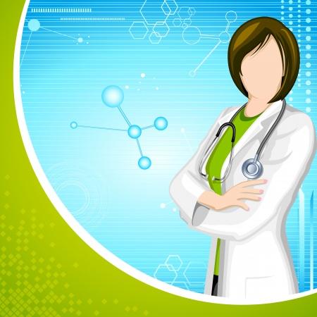 young professional: ilustraci�n del doctor de la se�ora con el estetoscopio en el fondo m�dico