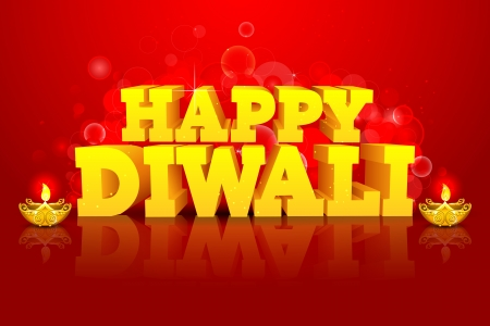 diwali celebration: illustration of diwali wish with diya on abstract background