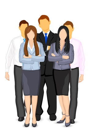 handsome young man: illustration of business man and woman forming team Illustration