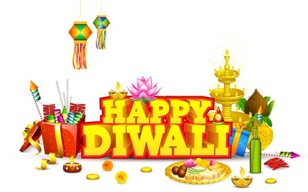 illustration of decorated diwali diya with gift box and sweet Vector