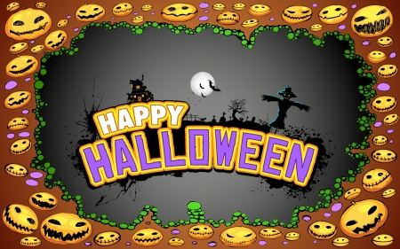illustration of Halloween doodle with pumpkin and text Vector