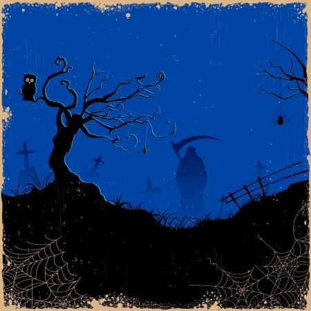 decease: illustration of grim holding sword in Halloween night