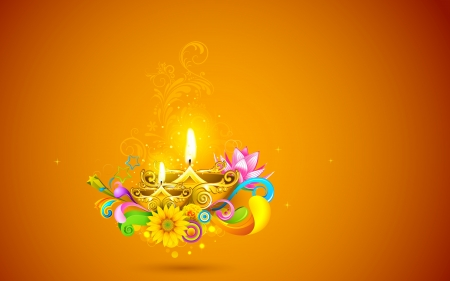 auspicious: illustration of burning diwali diya on abstract background