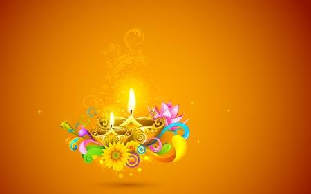 diya: ilustraci�n de la quema de diwali diya en fondo abstracto