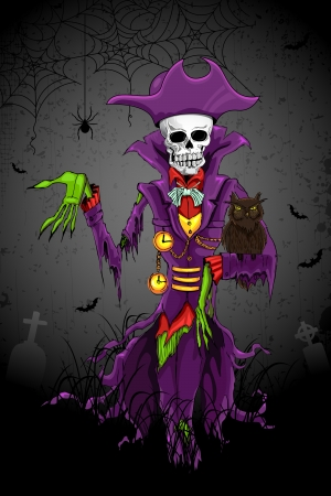 Grim Reaper: illustration of Halloween ghost with skull head
