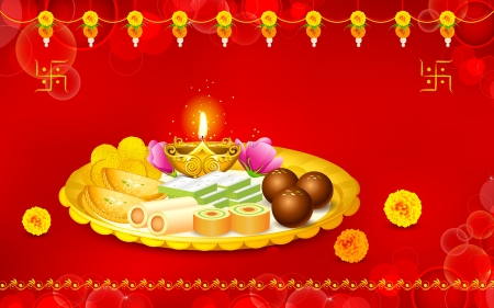 illustration of puja thali with holy festival object for Diwali Vector