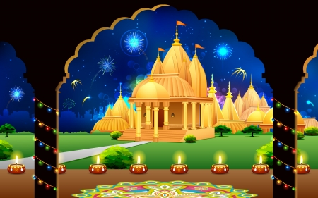 indian light: illustration of temple with backdrop of diwali firework in night sky
