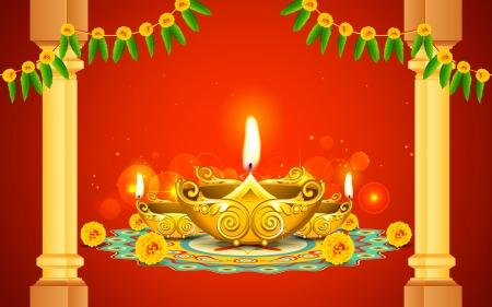 flower lamp: illustration of decorated golden diya for Diwali