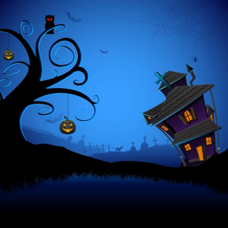 frightening: illustration of abandoned haunted house in halloween night