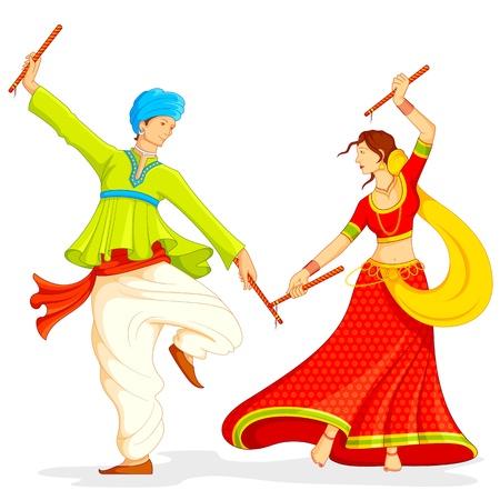 navratri: illustration of couple playing dandiya on white background Illustration