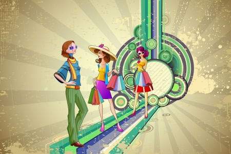 illustration of retro fashion lady with shopping bag Stock Vector - 15803365