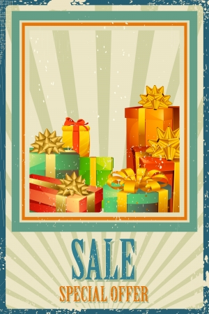 illustration of colorful gift box in Sale background Vector