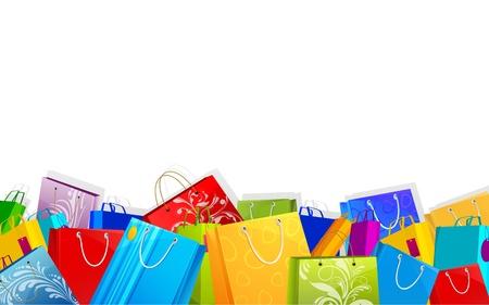ilustraci�n de la bolsa de la compra diferente en el fondo venta Vectores