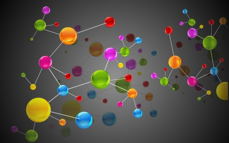orbiting: illustration of colorful molecule structure on abstract background Illustration