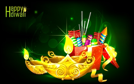 petardo: Ilustraci�n de diwali diya adornado con caja de regalo fuego galleta