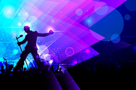 illustration of rock star performing in music concert Vector