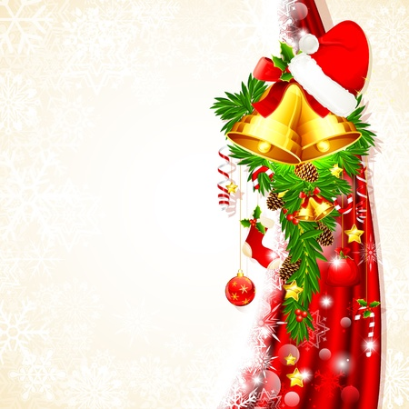 illustration of christmas decoration hanging from drape Vector