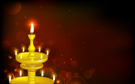 inauguration: illustration of golden diya stand on abstract background