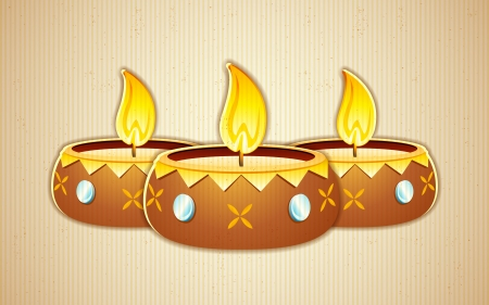 illustration of burning decorated diya on abstract background Vector