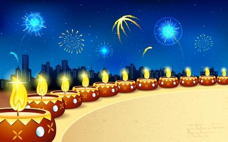 diwali celebration: illustration of burning decorated diya in Diwali night