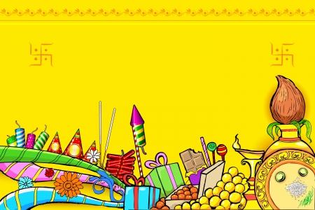diya: ilustraci�n de Diwali doodle con objeto diferente