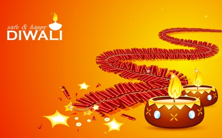 illustration of burning firecracker and diya for happy and safe Diwali Vector