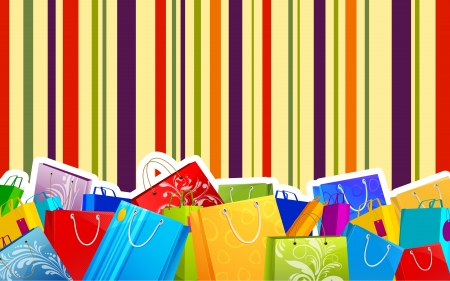 illustration of different shopping bag on colorful striped background Stock Vector - 15803399